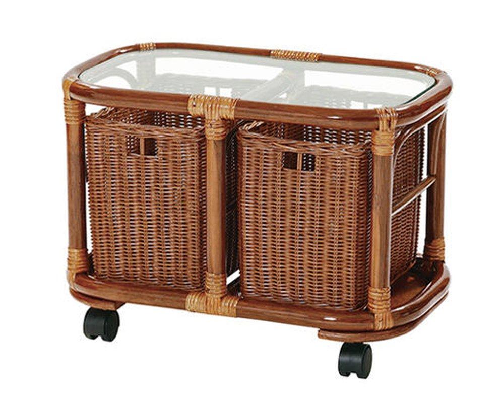 サンフラワーラタン バスケットキャスター付き ラタンガラステーブル T409HR B002CJT5D0