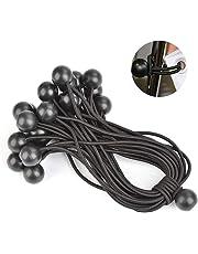 ATPWONZ 25Pcs Bungees Ball Elasticated Tarpaulin Rope Tent Cord (Black)