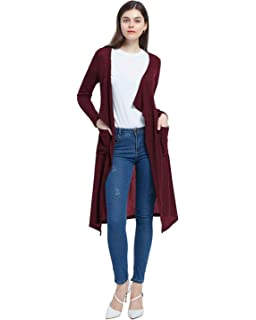 c23e675b05 Jacansi Women Knitted Drape Open Front Long Sleeve Warm Waterfall Cardigan  Outwear UK 6-18
