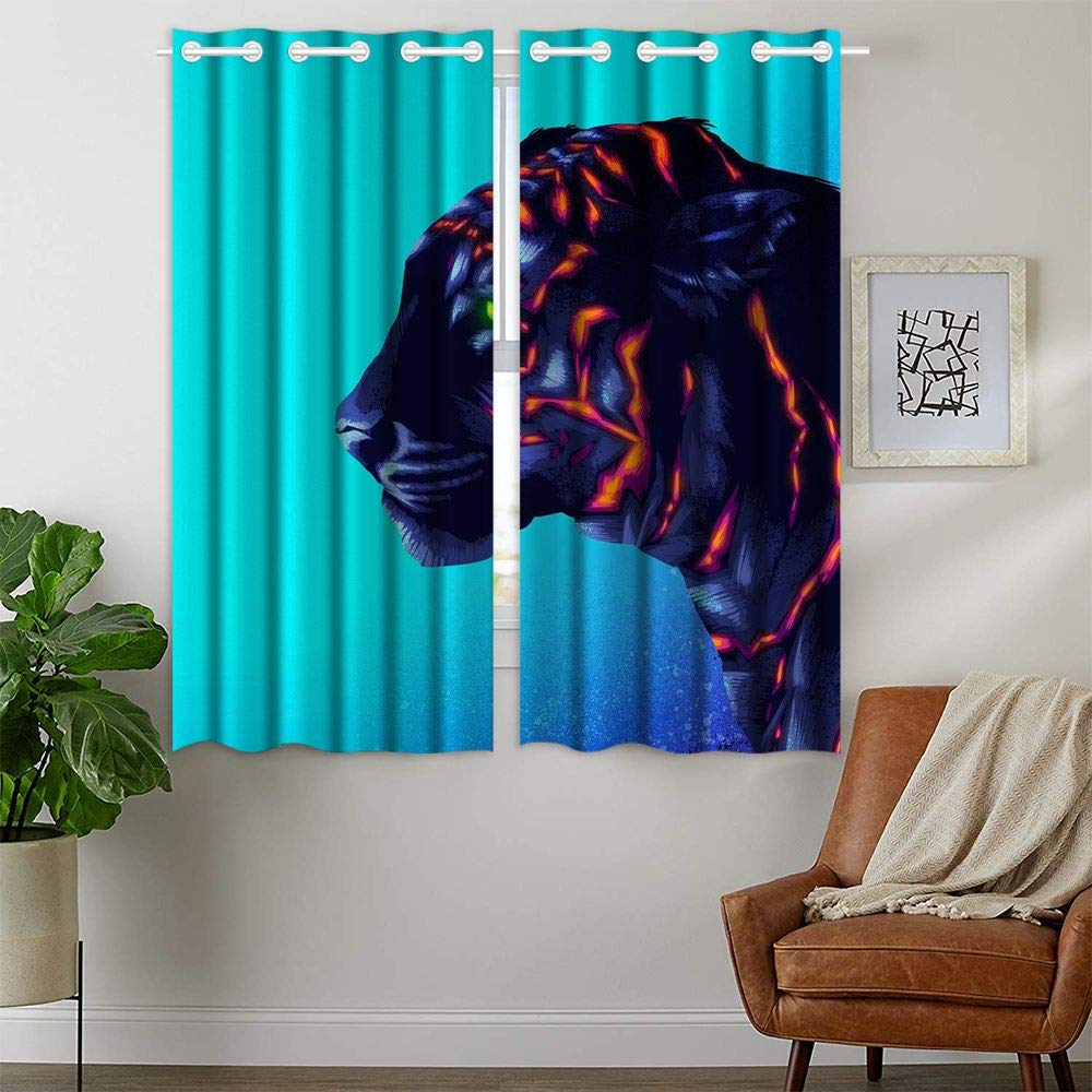 HommomH 42 x 63 Inch Tiger Cub Curtains (2 Panel) Grommet Top Blackout Shade Room Colorful Fluorescent Green Eye by HommomH