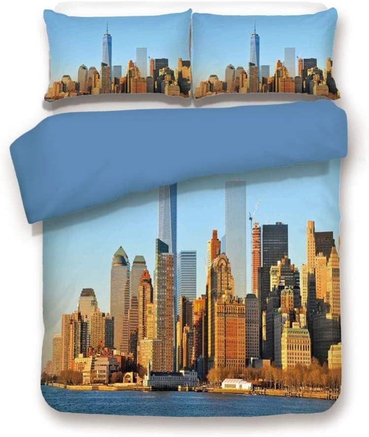 Duvet Cover Set Queen Size, Decorative 3 Piece Bedding Set with 2 Pillow Shams, New York City Skyline USA Landmark Buildings Skyscrapers Modern Urban Life