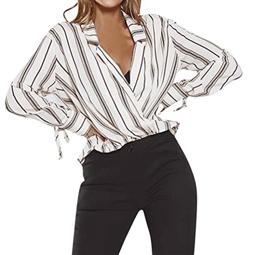 Manxivoo Women S Striped Surplice Wrap V Neck Long Sleeve High Low