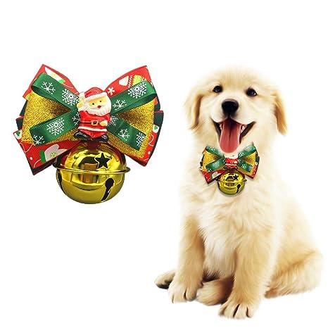 Leo565Tom Collar de Perro de Navidad Cachorros Gatos Collares Ajustables con Campanas Pajarita y Lanzamiento de