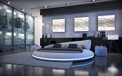 Divano dreams design mezzo letto rotondo con illuminazione a led