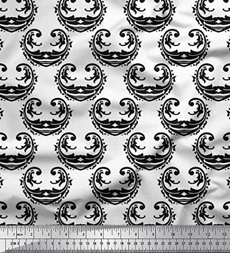 Soimoi Black Viscose Chiffon Fabric Filigree Damask Print Fabric by Yard 42 Inch ()