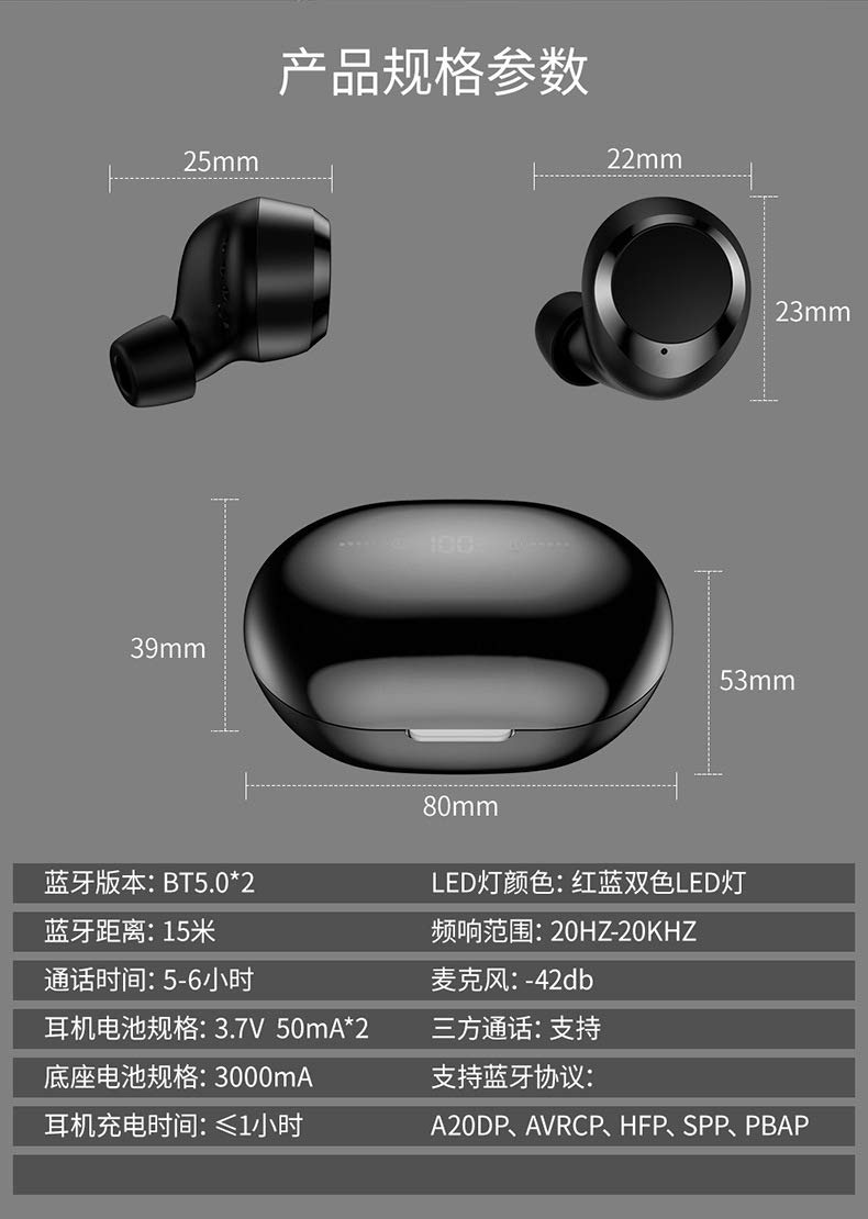 2019 Fashion Dual V5.0 Earphone Wireless High Fidelity Bass Subwoofer Diaphragm Earbuds by Fokine