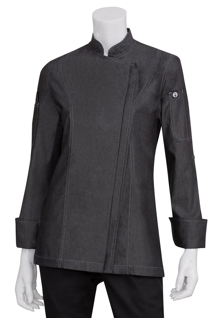 Chef Works Womens Gramercy Denim Chef Coat, Black, X-Large by Chef Works