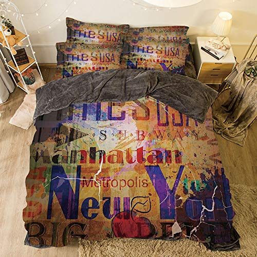 Montage Cover Futon - All Season Flannel Bedding Duvet Covers Sets for Girl Boy Kids 4-Piece Full for bed width 6.6ft Pattern by,NYC Decor,Grunge Style Complex Artsy Montage of NYC Letters on Magazine Cover Popular Brook