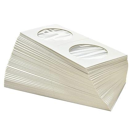 B•You Soporte de Moneda de Cartón,Titulares de Moneda De Cartón 100 Piezas 50 * 50mm Moneda de Cartulina de Flip para Colección de Monedas Espace de ...