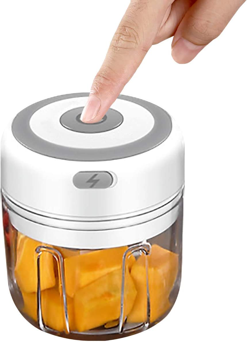 Benooa Electric Small Food Processor Portable Mini Food Chopper Cordless Spice Choppers for Vegetables Fruit Salad Onion Garlic Baby Food (250ML)