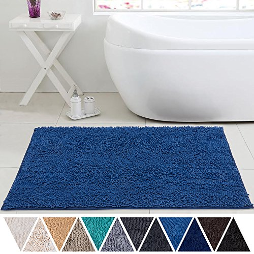 DEARTOWN 24×39 Bathroom Rug Carpet, Non-Slip Quick Drying Bath Mat with Water Absorbent Soft Microfibers of – Blue