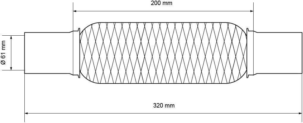 Gesamtl/änge 290 mm Sportland Universal Wellrohr//Flexrohr//flexibles Abgasrohr//Rohrverbinder//Flexst/ück//Auspuffrohr Durchmesser 48 mm S.B.J