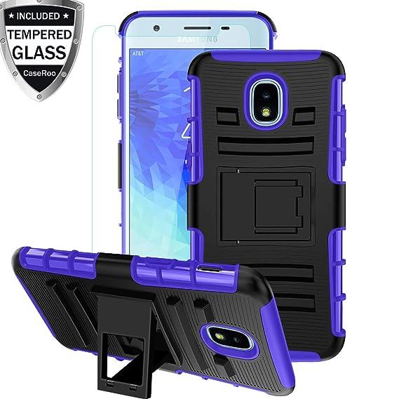 Galaxy J3 Star Case w/Tempered Glass Screen Protector,Galaxy J3V J3 V 3rd Gen Case,Galaxy J3 Orbit Phone Case,Galaxy J3 2018 Case,Kickstand Heavy Duty ...