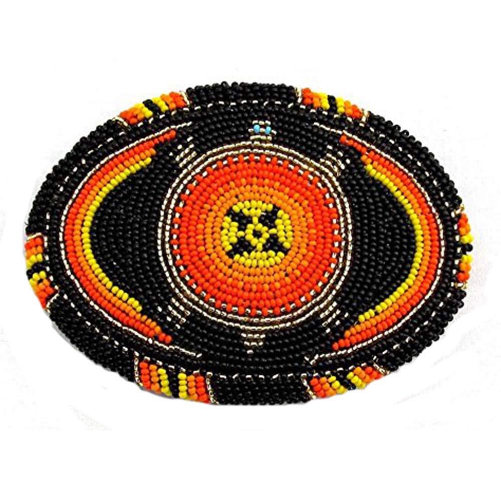 Viva Red Black Orange Seed Beaded Turtle Beadwork Pattern Belt Buckle Handmade X15008 by Viva