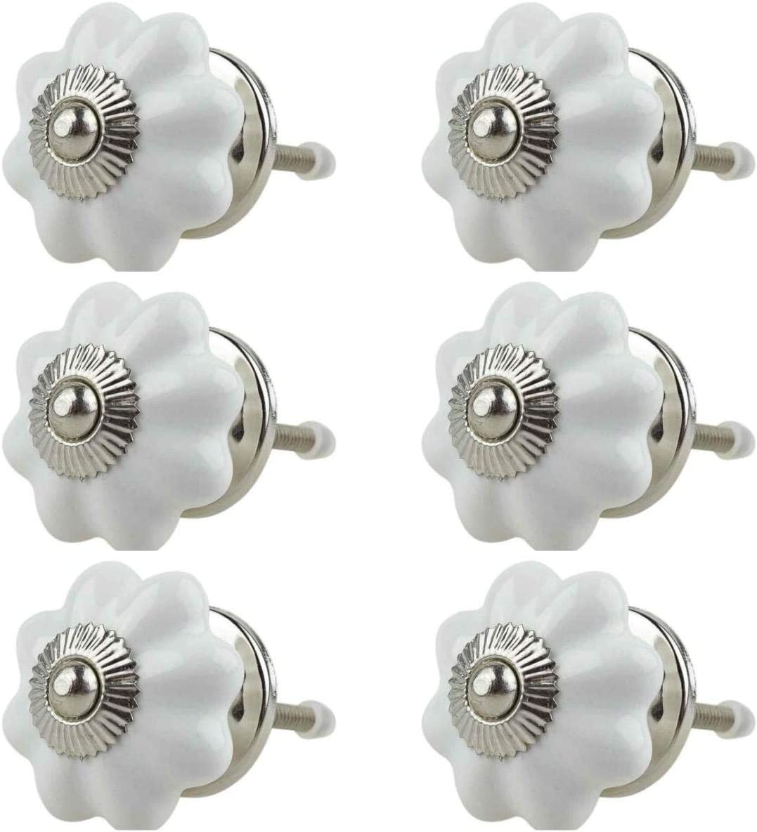 Boutons de Meuble C/éramique Assortiment 6 pi/èces No multicolore tiroir en porcelaine poign/ées meuble Jay Knopf 049GN Citrouille Fleur Blanc