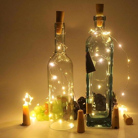 Iraza Luces de Botella, Luces del Corcho de 1M 20 LED, Botella de Alambre de Cobre de Guirnaldas Luminosas de Vino para DIY, Fiesta Decoración de Navidad, ...