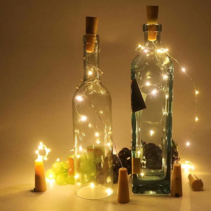 Wrighteu 10PCS 2M Luces Botella de Vino Corcho Micro LED Luz de la Secuencia del Alambre 20pcs de Cobre Lámpara DIY Boda Mini Cadena Iluminación Batería ...