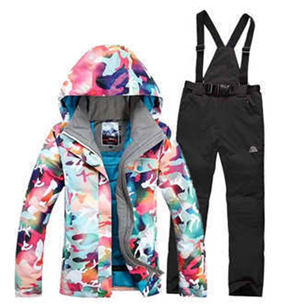 HOTIAN Women's High Windproof Technology Colorfull Printed Snowboard Jacket