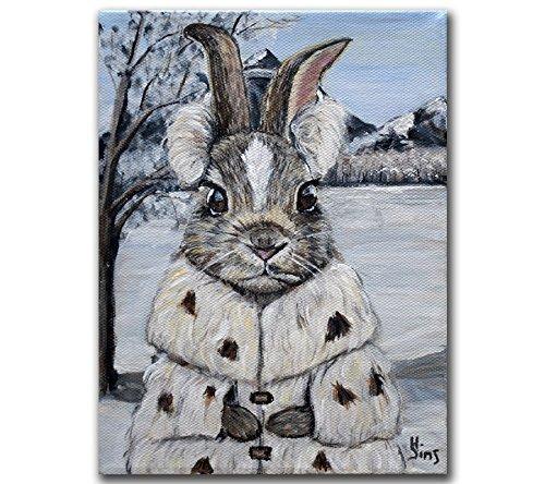 Woodland Heather (Snow Bunny Art Print, Rabbit Giclee for Farmhouse Animal Nursery Wall Home Decor, Size mat option)