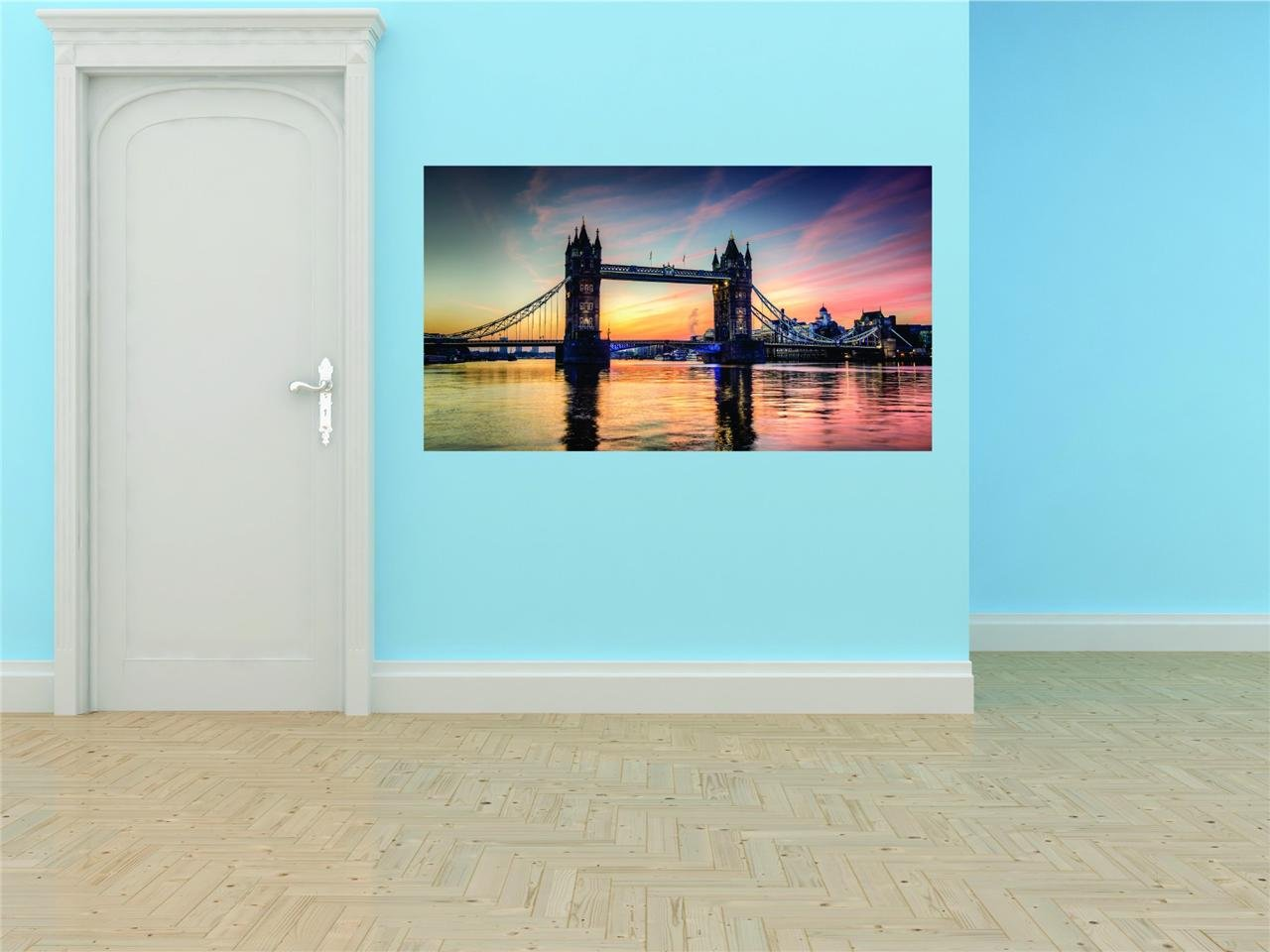 Tower Bridge London Victorian Gothic Style Water Scene Graphic Design Image Living Room Home Decor Vinyl Wall - Best Selling Cling Transfer Decal Color 586Size : 20 Inches X 40 Inches - 22 Colors Available