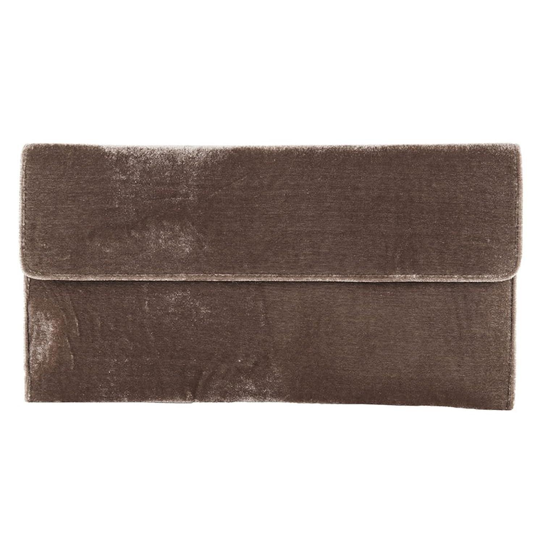 Clutch bag, Clorinda?Brown,?Velour, Dimensions in cm: 32 l x 17 h x 3 p, Anna Cecere