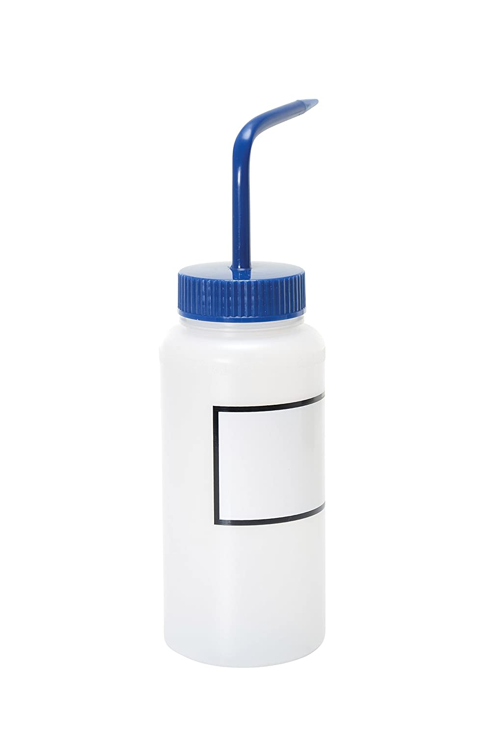 Vestil BTL-WW-16B-LBL Wide Mouth Low Density Polyethylene (LDPE) Round Squeeze Wash Bottle with Label and Blue Cap, 16 oz Capacity, Translucent