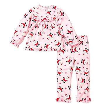 Amazon.com: Little Me Baby Girls Christmas Pajamas Santa Two Piece ...