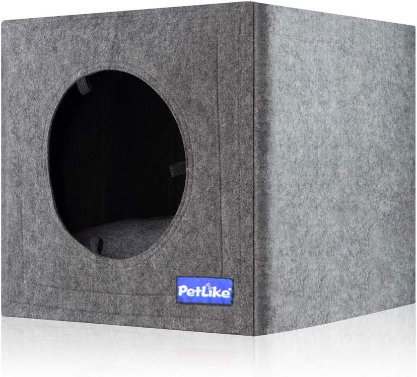 PetLike Cat House Collapsible Cat Cave with Removable Cushion Stackable Cat Cube Cat Tent Bed for Indoor Cats Cat Condo