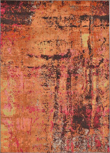 Modern Abstract 7 feet by 10 feet (7' x 10') Barcelona Orange Contemporary Area Rug (Barcelona Brown Rug)