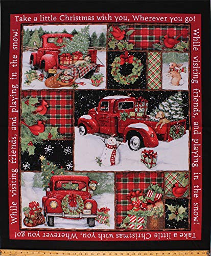 """36"""" X 44"""" Panel Red Trucks Presents Trees Bunnies Winter Holiday Collage Red Cotton Fabric Panel (66689-A620715)"""