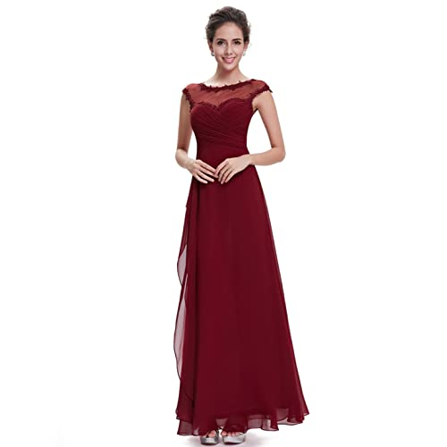 Ever Pretty Womens Lace Round Neck Chiffon Maxi Long Elegant Evening Dress 14UK Burgundy