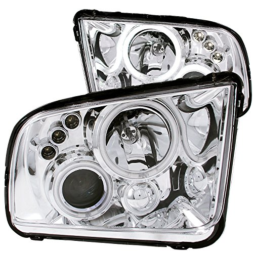 Mustang Projector Chrome (Anzo USA 121162 Ford Mustang Projector With Halo/Chrome Clear With Amber Reflectors Headlight Assembly - (Sold in Pairs))