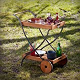 Southern Enterprises Bella Outdoor 2 Shelves Serving Cart, Oiled Hardwood and Renovation Grey