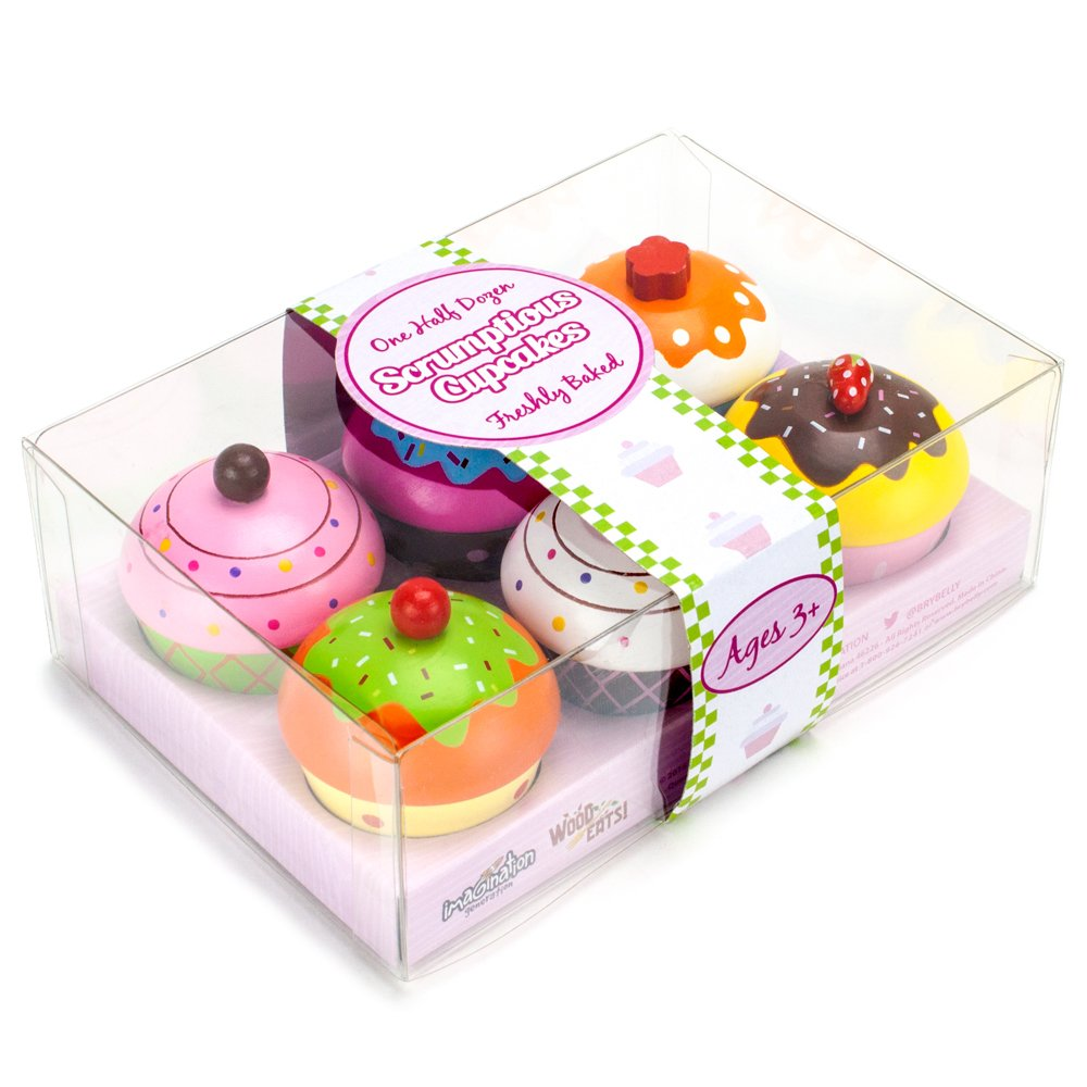 Imagination Generation Wood Eats! Scrumptious Cupcakes Dessert Set - 6 Colorful Cakes, Great for Baking Playsets, Play Kitchens and Play Food Toys by Imagination Generation