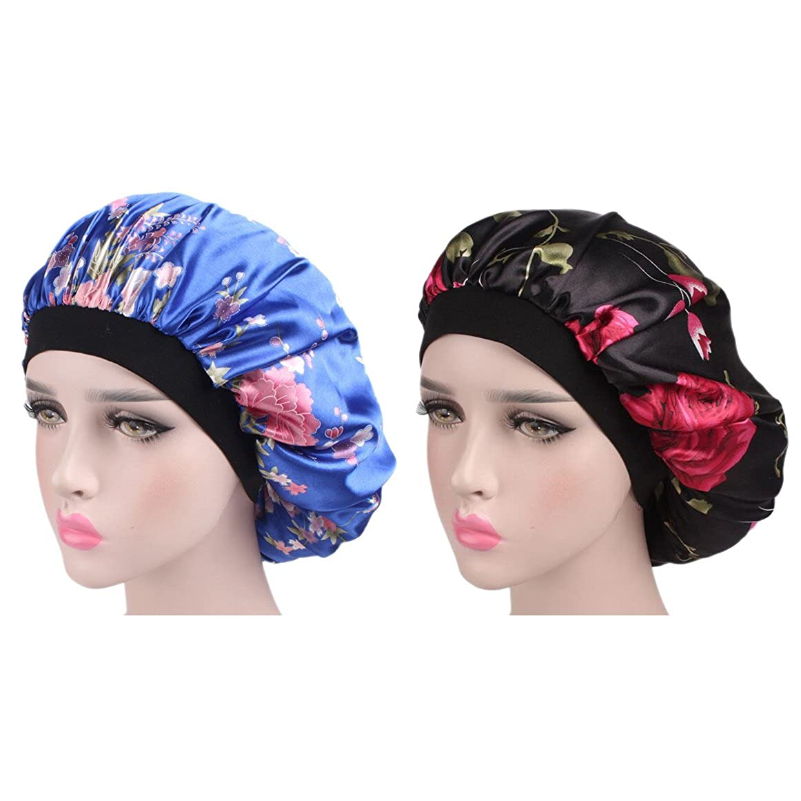 AWAYTR Satin Bonnet Hat Wide Band Night Sleep Cap Hair Loss Cap 2Pack