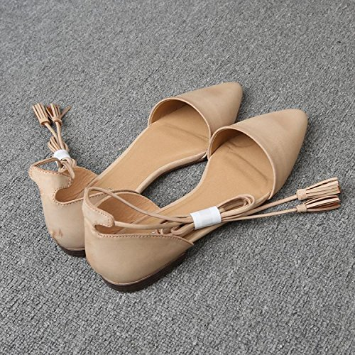 &qq Las sandalias planas puntiagudas, los lazos femeninos con los zapatos romanos, los zapatos ocasionales atractivos y cómodos, observan por favor que un poco grande 41