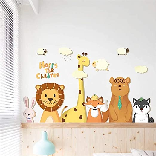 Colorful animal safari Tree Wall Decals Removable sticker kids nursery Decor
