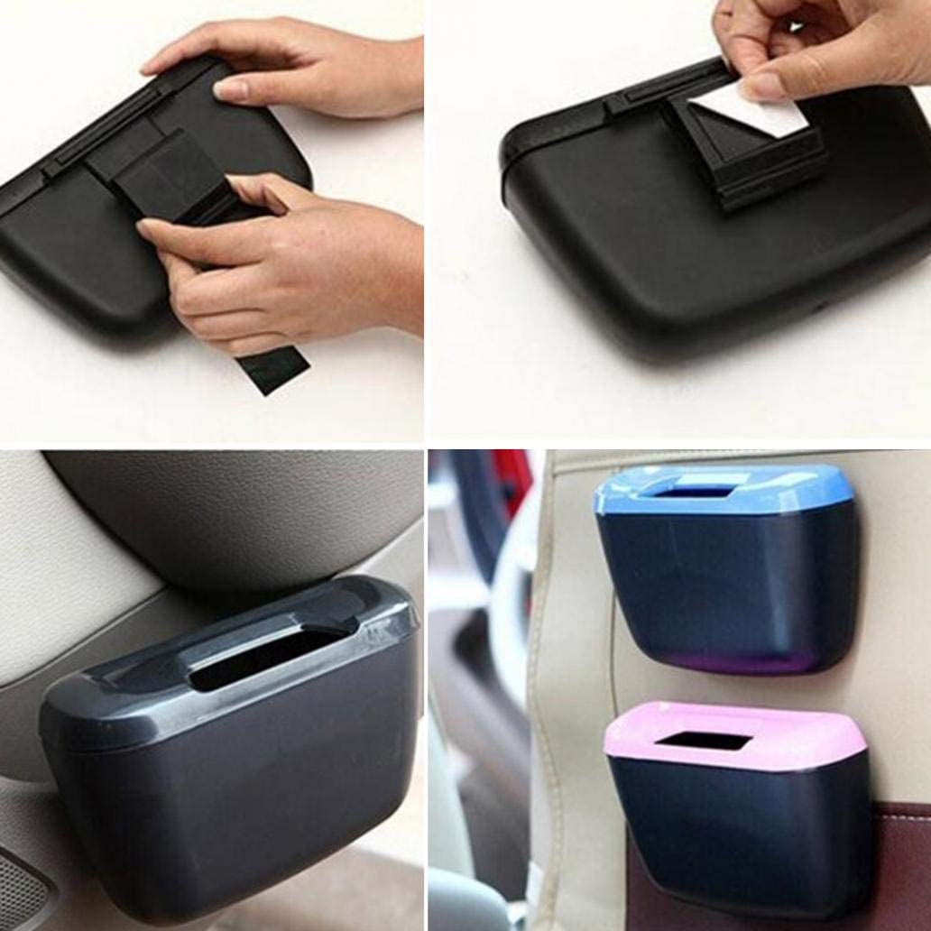 Pink Universal Travel Auto Car Trash Can with Lid Waste Container Leak-Proof Bin Bag Rubbish Garbage Holder Tool Mini