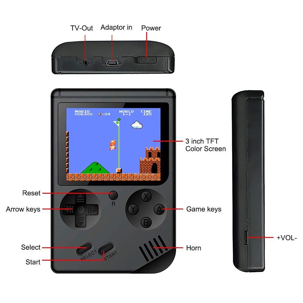 ANZER Consolas de Juegos de Mano Retro FC con 1 PCS Joystick para Dos Jugadores Handheld Game Console 3 Pulgadas 168 Classic Game Console