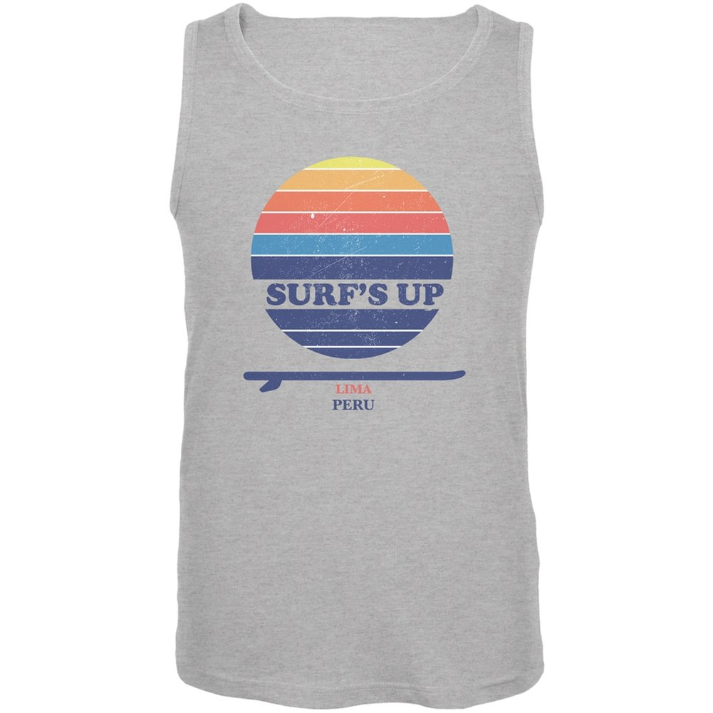 Old Glory Surfs Up Lima Beach Heather Grey Adult Tank Top