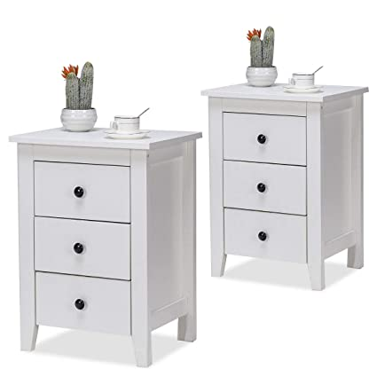 huge selection of 587d9 dbdae Giantex Nightstand Bedside Table Cabinet Set of 2 Bedroom Furniture,  Storage Sofa Side Tables for Living Room, Bedroom End Side Table (3-Drawer  2PCS)