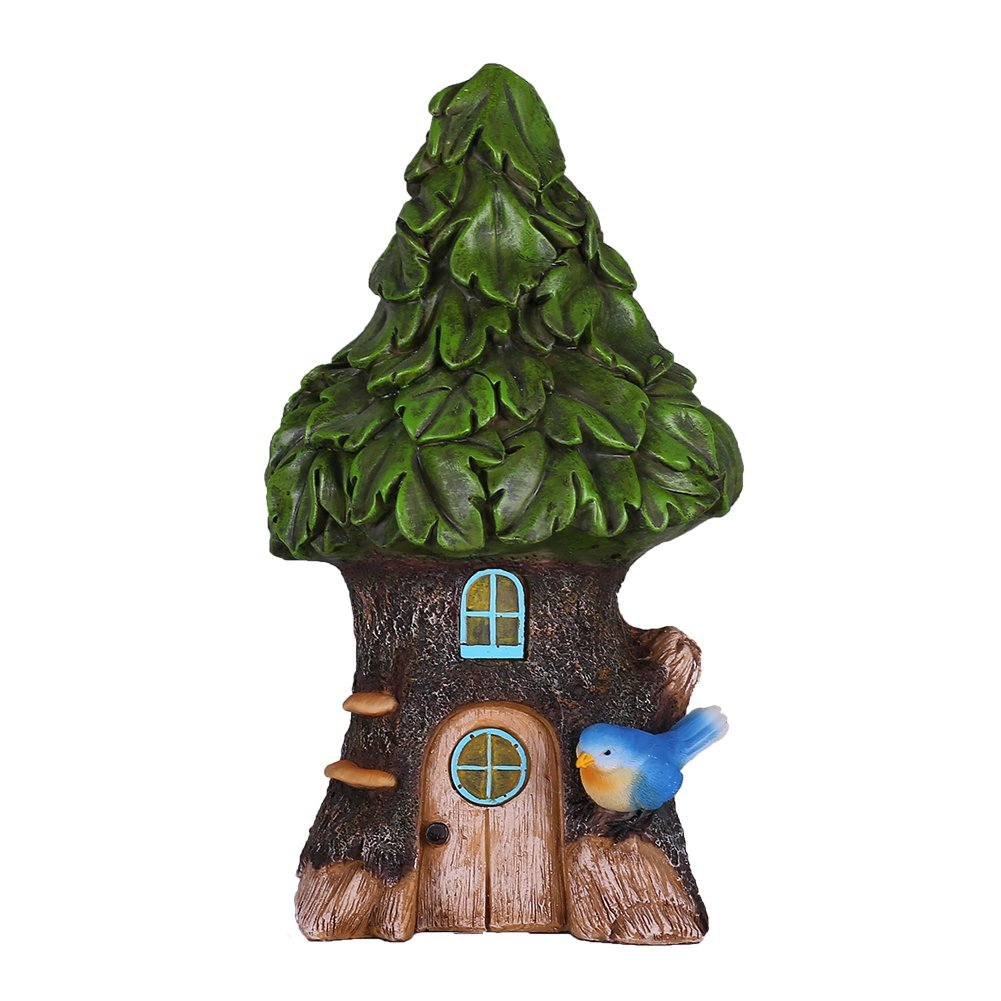 Hannah's Cottage Fairy Garden House Outdoor Statue with Solar Lights, Polyresin Garden Figurine for Outdoor Decoration