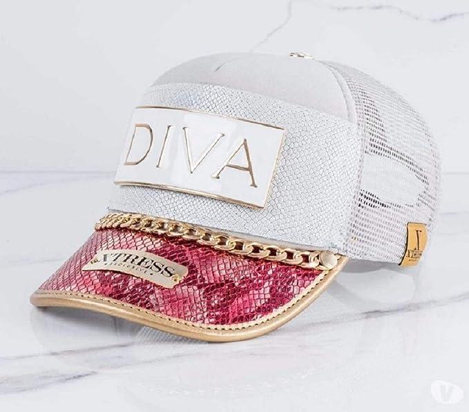 Xtress Exclusive Gorra fashion blanca y rosa con el logo DIVA: Amazon.es: Ropa y accesorios