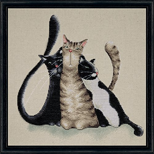 Tobin DW2801 14 Count Kitty Trio Counted Cross Stitch Kit, 12 by 12-Inch - 14k Kitty