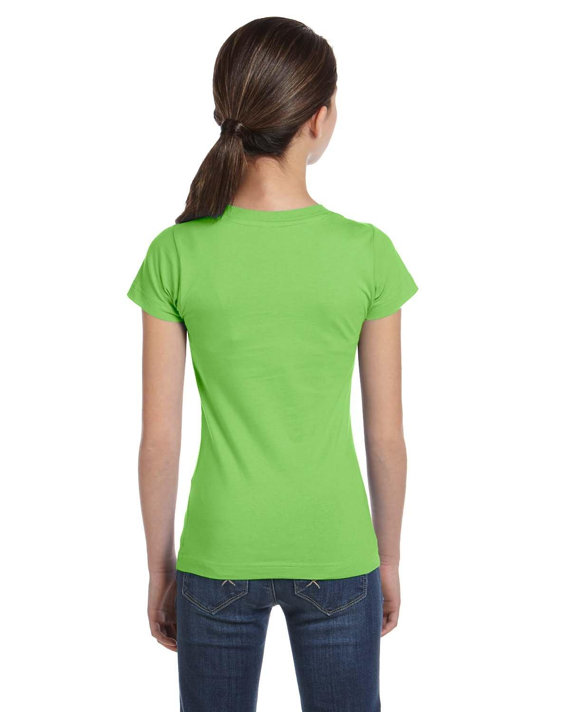LAT Sportswear Girl's Fine Jersey Longer-Length T-Shirt, Key Lime, Large