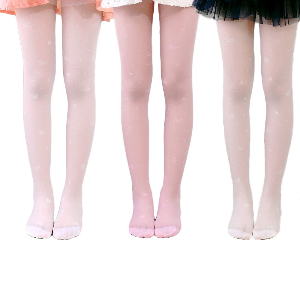 eafc22f17 Looching 3 Pack Girls Dance Tights Ultra Thin Transparent Butterfly Pattern  Stocking Pantyhose for Baby Kids