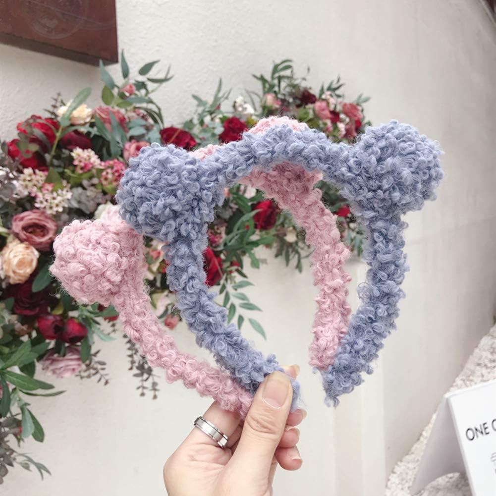 liuqingwind Lamb Wool Ball with Fine Edge Hair Band Solid Color Berber Fleece Pompom Headband Girl Autumn Winter Hair Hoop Headwear Blue