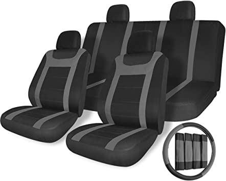 17pc Black Gray Car Seat Covers Set for Auto w//Steering Wheel//Belt Pad//Head Rest