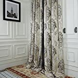 """IYUEGO Rococo Ivory Jacquard Grommet Top Lining Blackout Curtains Drapes With Multi Size Custom 84"""" W x 108"""" L (One Panel)"""