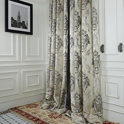 IYUEGO Rococo Ivory Jacquard Grommet Top Curtain Draps With Multi Size Custom 84″ W x 84″ L (One Panel) For Sale